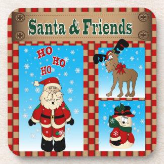 Alegría del navidad de Santa y de los amigos Posavasos De Bebida