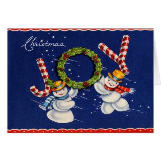 Alegría del navidad del muñeco de nieve del vintag tarjeta de felicitación