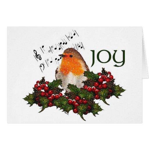ALEGRÍA del navidad: Petirrojo inglés: Acebo, baya Felicitacion