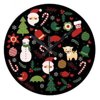Alegría del navidad reloj redondo grande