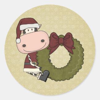 Alegría del navidad - vaca pegatina redonda