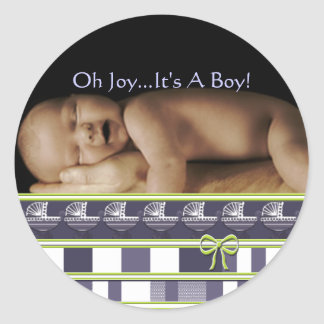 Alegría del OH… ¡Es un muchacho! Pegatinas su foto Etiqueta Redonda
