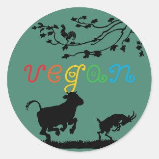 Alegría del vegano pegatina redonda