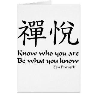Alegría del zen - sepa quién usted es tarjeta de felicitación