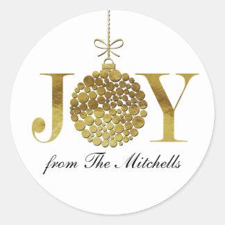 Alegría en el tiempo del navidad pegatina redonda