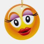 Alegría feliz de Sally Adorno Navideño Redondo De Cerámica