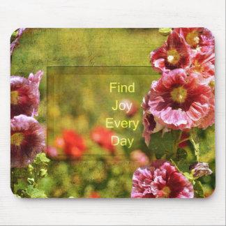 Alegría floral del Hollyhock del jardín Tapete De Ratones