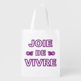 """Alegría francesa de """"joie de vivre"""" de la frase de bolsas para la compra"""