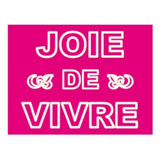 """Alegría francesa de """"joie de vivre"""" de la frase de postales"""