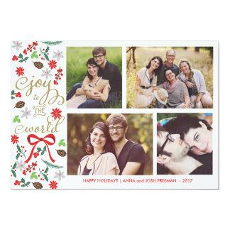 Alegría moderna a la tarjeta de la foto de los invitaciones personalizada