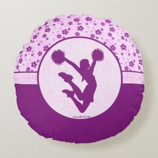 Alegría o Pom Purple Heart floral Cojín Redondo