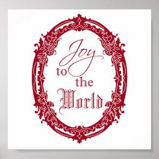 Alegría oval adornada al mundo póster