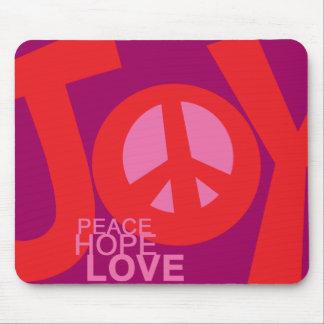 Alegría, paz, esperanza y, cojín de ratón del amor tapete de ratones