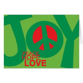 Alegría paz Hopeand tarjeta del día de fiesta d