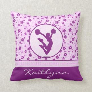 Alegría personalizada o Pom Purple Heart floral Cojín