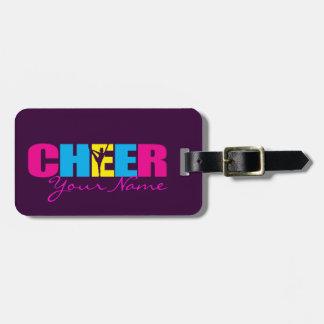 Alegría personalizada que anima púrpura etiqueta de equipaje