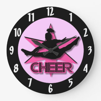 Alegría rosada reloj redondo grande