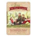 Alegría rústica a la tarjeta plana del navidad del comunicados personalizados
