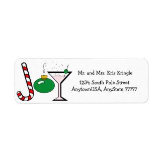 Alegría verde del navidad etiquetas de remite