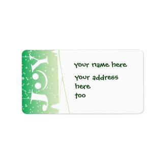 alegría y etiqueta de dirección verde del navidad