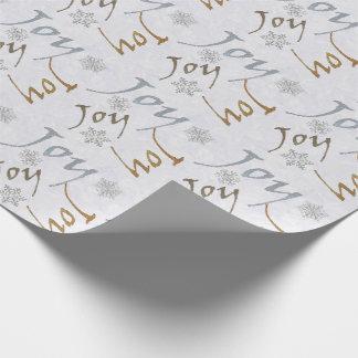 Alegría y papel de embalaje del día de fiesta de papel de regalo