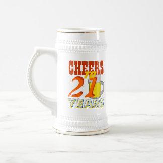Alegrías a 21 años de cerveza Stein del cumpleaños Jarra De Cerveza