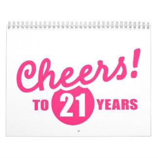 Alegrías a 21 años de cumpleaños calendario de pared