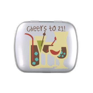 Alegrías a 21 latas y tarros del caramelo del jarrones de dulces
