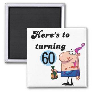 Alegrías a 60 camisetas y regalos del cumpleaños imán cuadrado