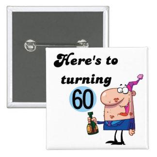 Alegrías a 60 camisetas y regalos del cumpleaños pin cuadrado