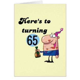 Alegrías a 65 camisetas y regalos del cumpleaños tarjeta de felicitación