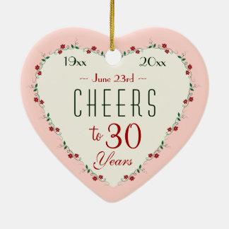 Alegrías a los trigésimos regalos del navidad del adorno navideño de cerámica en forma de corazón