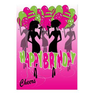 Alegrías, chicas marchosas del feliz cumpleaños tarjetas de visita grandes