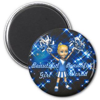 Alegrías de la luz de las estrellas - chica hermos imán redondo 5 cm