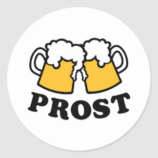 Alegrías de Prost de la taza de cerveza Pegatina Redonda