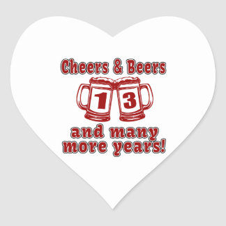 Alegrías y cervezas 13 años pegatina en forma de corazón