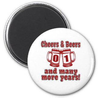 Alegrías y cervezas 1 año imán redondo 5 cm