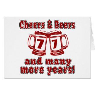 Alegrías y cervezas 77 diseños del cumpleaños tarjeta de felicitación