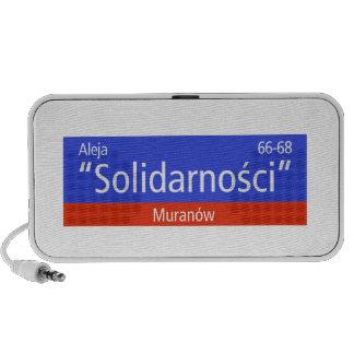 """Aleja """"Solidarnosci"""", Varsovia, placa de calle PC Altavoces"""
