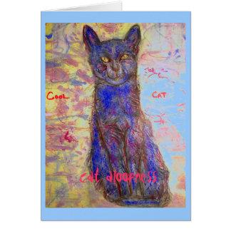 alejamiento fresco del gato tarjeta de felicitación