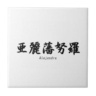Alejandra translated into Japanese kanji symbols. Ceramic Tile