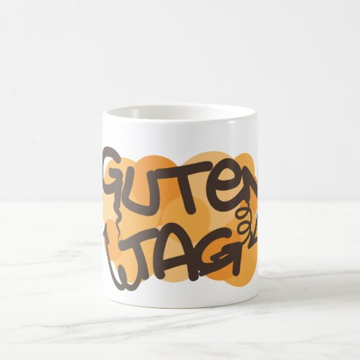 Alemán de la etiqueta de Guten hola en estilo de Taza Clásica