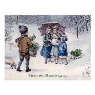 Alemán del vintage de Herzliche Neujahrsgrusse Tarjeta Postal