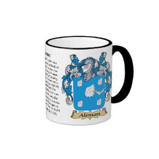 Aleman Family Coat of Arms Ringer Mug