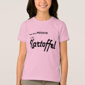 """Alemán Kartoffel """"usted dice la patata"""" que dice Playera"""