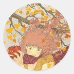 Alemán para el otoño pegatina redonda