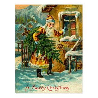 Alemán Santa del vintage en amarillo Tarjeta Postal