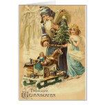 Alemán Santa del vintage y tarjeta de Navidad del