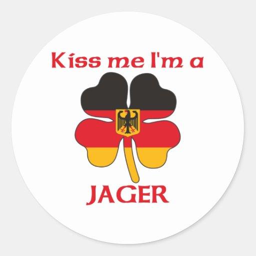 Alemanes personalizada me besan que soy Jager Pegatina Redonda