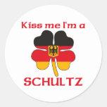 Alemanes personalizada me besan que soy Schultz Etiquetas Redondas